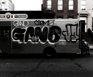 art, black and white, and bus image