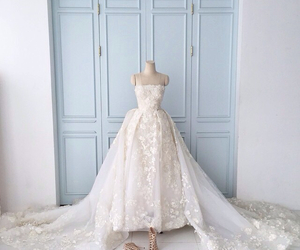 bride, florals, and wedding gown image
