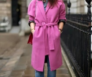 coat, pink, and jeans image