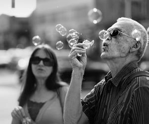 black and white, focus, and bubbles image