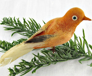 christmas tree ornament, vintage bird ornament, and real feather birds image