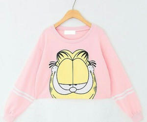 garfield, pink, and sweater image