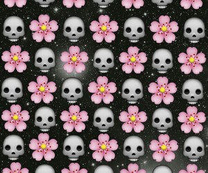 flowers, wallpaper, and skull image