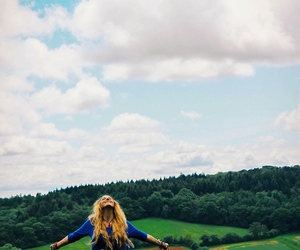 girl, beautiful, and landscape image
