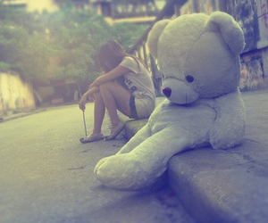 girl, bear, and alone image