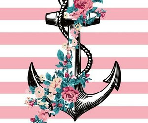 pink, anchor, and flowers image