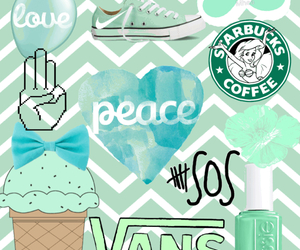 mint green, peace, and sos image