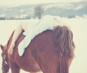 girl, horse, and snow image