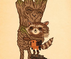 Marvel, the groot, and rocket raccoon image