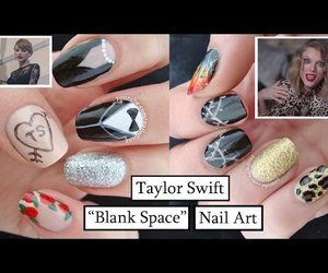 blank space, nail art, and roses image