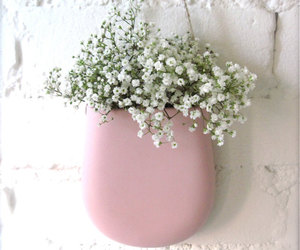 flowers, pink, and brick image