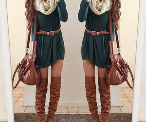 boots, girl, and drees image