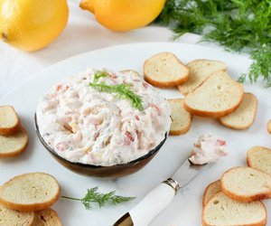 dip, food, and salmon image