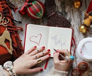 book, happy new year, and heand image