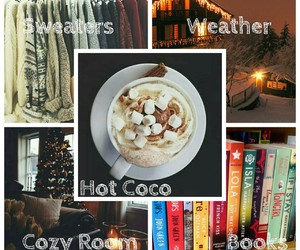 books, christmas, and hot coco image