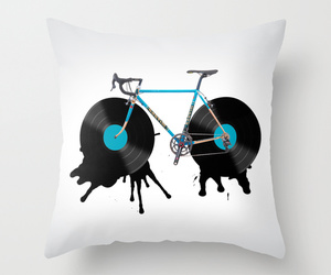 art illustration, bed, and bicycle image