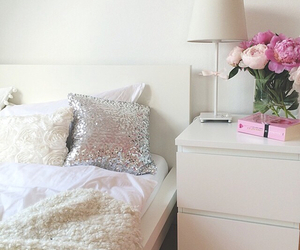room, bedroom, and flowers image