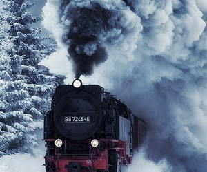 train, snow, and winter image