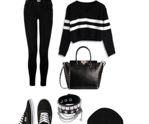 outfit, black, and bracelet image