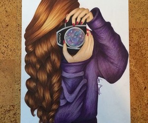 drawing, hair, and camera image