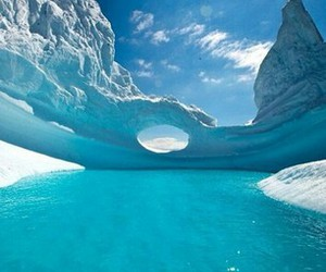 ice, antarctica, and water image