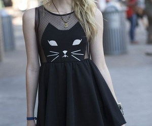 dress, cat, and black image