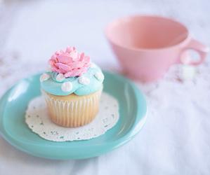 cupcake, food, and pink image