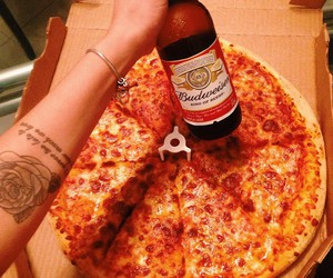 beer, pizza, and fat image