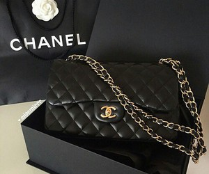 chanel, black, and gold image