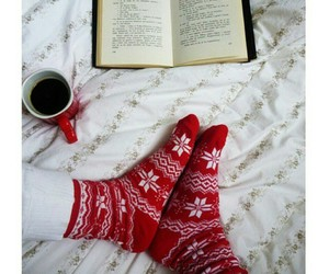 christmas, book, and socks image