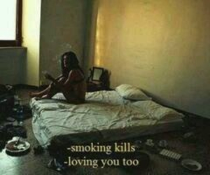 love, sad, and smoke image