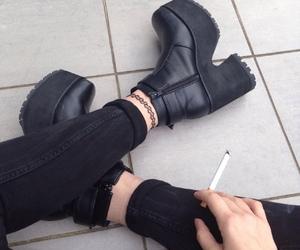 black, cigerette, and fashion image