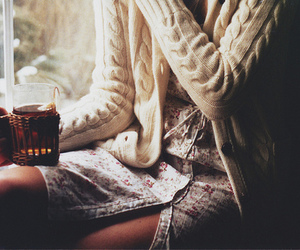 girl, tea, and sweater image