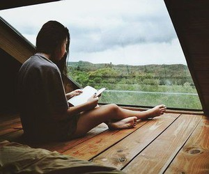 book, girl, and window image