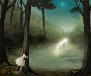 girl, fantasy, and night image