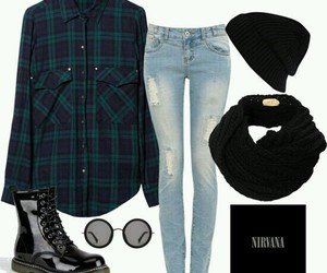 outfit, grunge, and nirvana image
