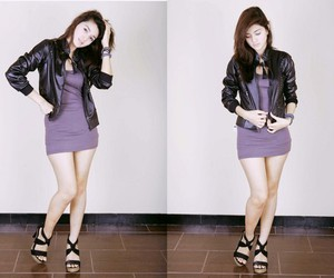 fashion, leather jacket, and purple dress image