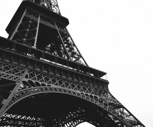 paris, black and white, and eiffel tower image