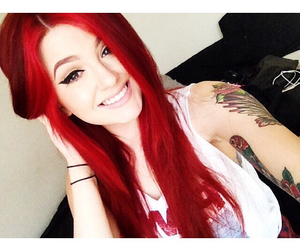 beautiful smile, red hair, and insta girl image