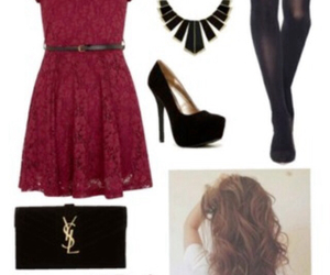 dress, hair styles, and christmas clothes image