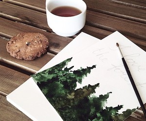 art, pine trees, and illustration image