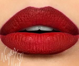 make up, makeup, and red lips image