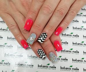 black and white, nails, and red image
