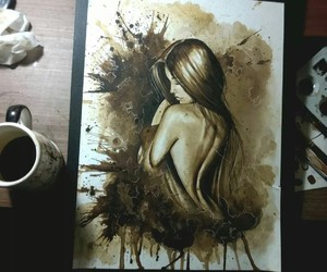 girl, art, and coffee image