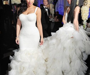 kim kardashian, dress, and wedding image