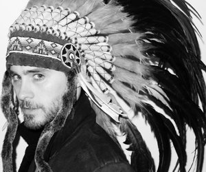 jared leto, black and white, and indian image