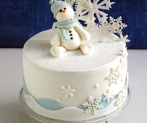 cake, winter, and snowman image