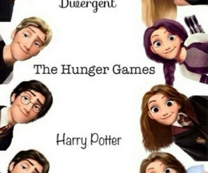 harrypotter, thehungergames, and divergent image