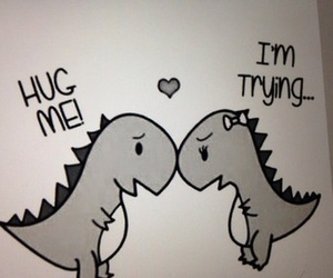 adorable, hug, and t-rex image