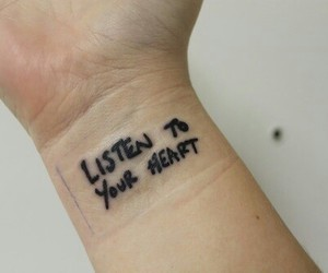 tattoo, heart, and listen image